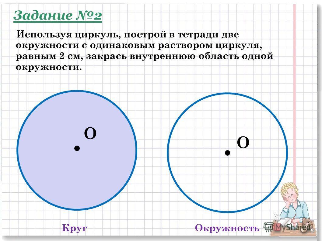 КругОкружность O O Используя циркуль, построй в тетради две окружности с одинаковым раствором циркуля, равным 2 см, закрась внутреннюю область одной окружности. Задание 2