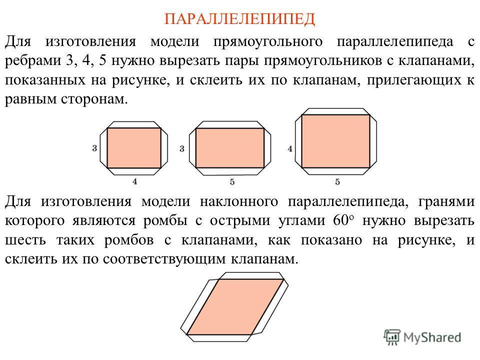 ПАРАЛЛЕЛЕПИПЕД Для изготовления модели прямоугольного параллелепипеда с ребрами 3, 4, 5 нужно вырезать пары прямоугольников с клапанами, показанных на рисунке, и склеить их по клапанам, прилегающих к равным сторонам. Для изготовления модели наклонног