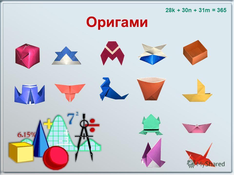 Оригами 28k + 30n + 31m = 365