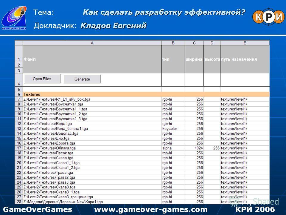 Как сделать разработку эффективной? Тема: Докладчик: Кладов Евгений GameOverGamesКРИ 2006www.gameover-games.com
