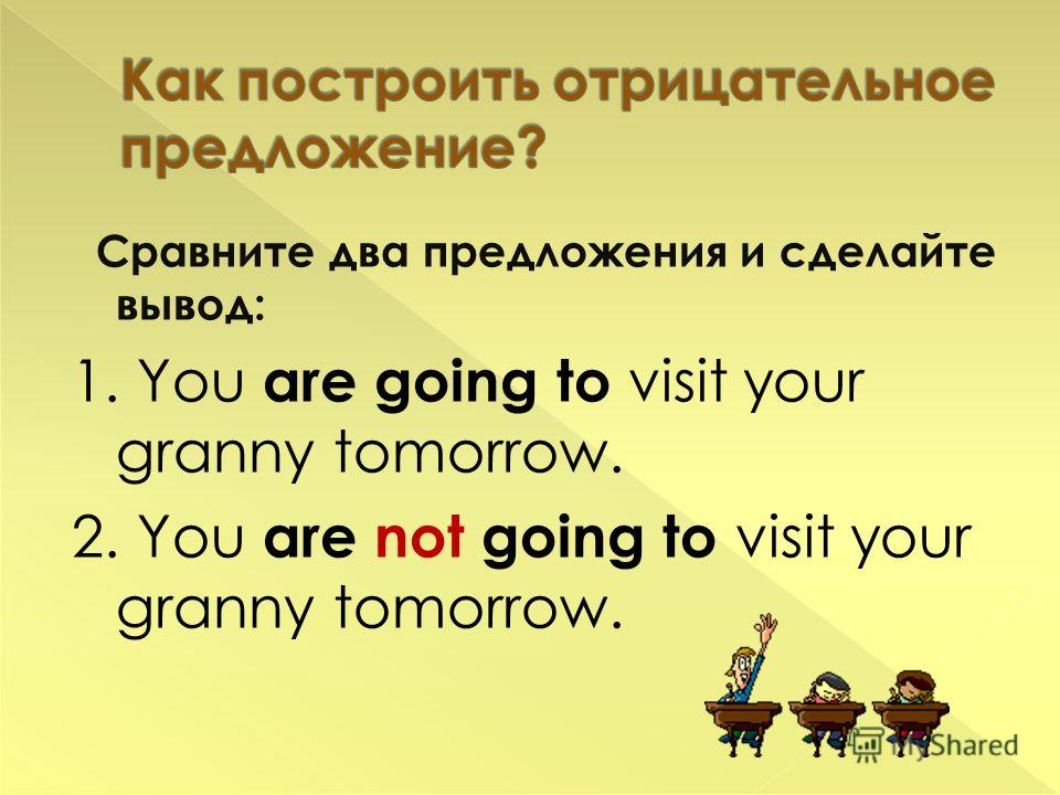 Сравните два предложения и сделайте вывод: 1. You are going to visit your granny tomorrow. 2. You are not going to visit your granny tomorrow.