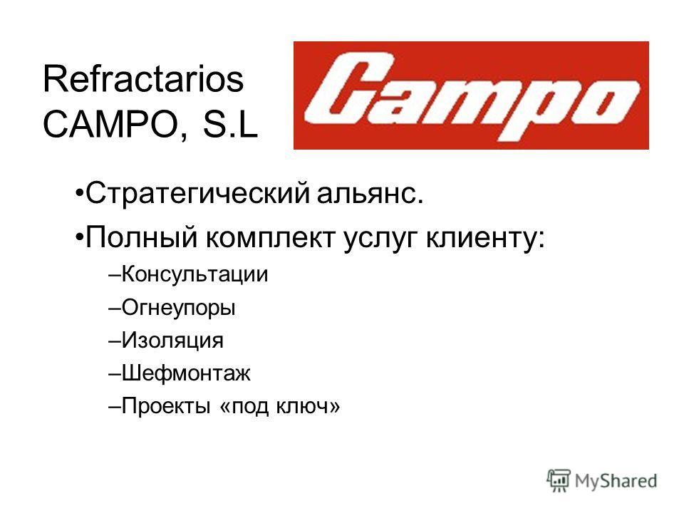 Refractarios CAMPO, S.L Стратегический альянс. Полный комплект услуг клиенту: –Консультации –Огнеупоры –Изоляция –Шефмонтаж –Проекты «под ключ»