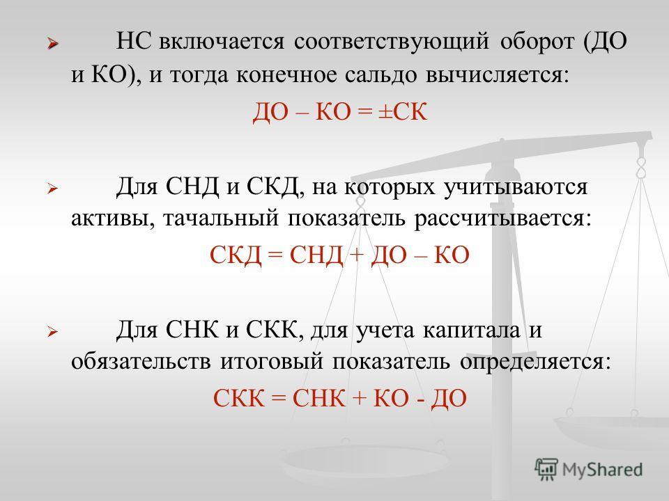 НС включается соответствующий оборот (ДО и КО), и тогда конечное сальдо вычисляется: ДО – КО = ±СК Для СНД и СКД, на которых учитываются активы, тачальный показатель рассчитывается: СКД = СНД + ДО – КО Для СНК и СКК, для учета капитала и обязательств
