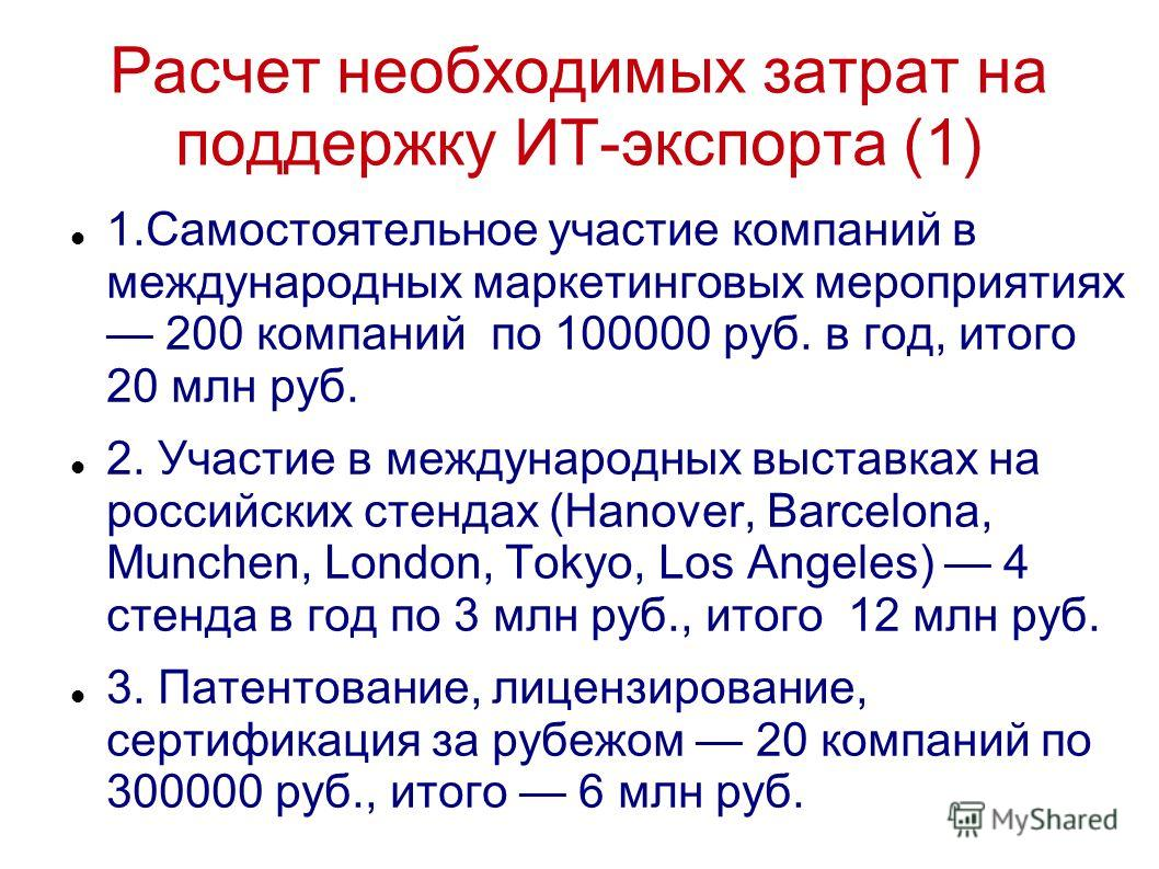 Расчет необходимых затрат на поддержку ИТ-экспорта (1) 1.Самостоятельное участие компаний в международных маркетинговых мероприятиях 200 компаний по 100000 руб. в год, итого 20 млн руб. 2. Участие в международных выставках на российских стендах (Hano