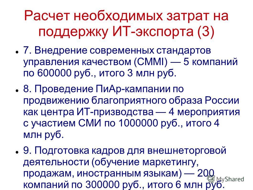 Расчет необходимых затрат на поддержку ИТ-экспорта (3) 7. Внедрение современных стандартов управления качеством (CMMI) 5 компаний по 600000 руб., итого 3 млн руб. 8. Проведение ПиАр-кампании по продвижению благоприятного образа России как центра ИТ-п