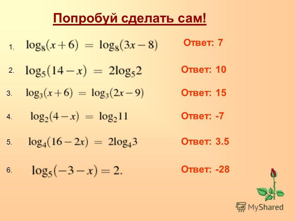 Ответ: 7 Попробуй сделать сам! 1. 2. 3. 4. 5. Ответ: 10 Ответ: 15 Ответ: -7 Ответ: 3.5 6. Ответ: -28