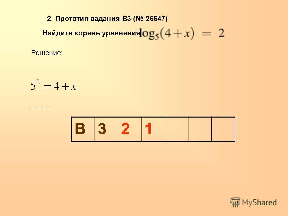 Найдите корень уравнения. 2. Прототип задания B3 ( 26647) Решение: В321