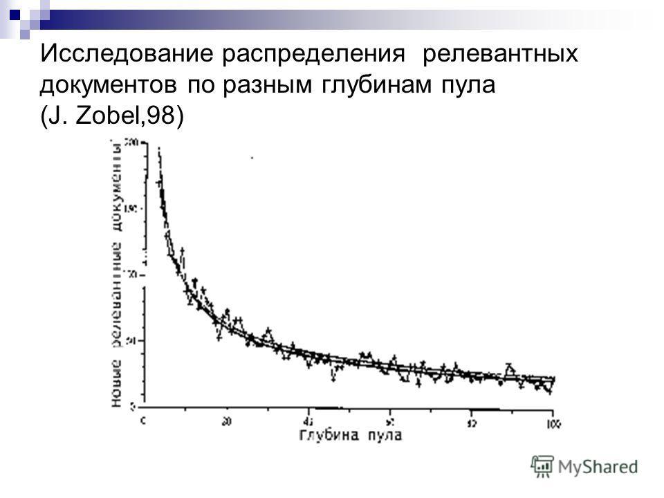 Исследование распределения релевантных документов по разным глубинам пула (J. Zobel,98)
