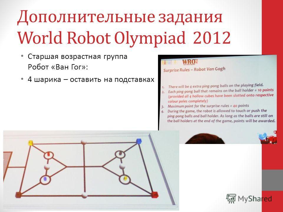 Дополнительные задания World Robot Olympiad 2012 Старшая возрастная группа Робот «Ван Гог»: 4 шарика – оставить на подставках