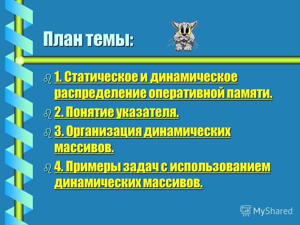 Указатели и динамические массивы Delphi. Тема 5.