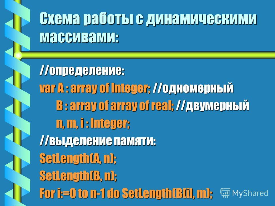3. Организация динамических массивов. bОbОbОbОбычно динамическое выделение и освобождение памяти используется при работе с массивами данных. bПbПbПbПреимущества динамических массивов над статическими: - Экономное использование памяти; - Возможность и