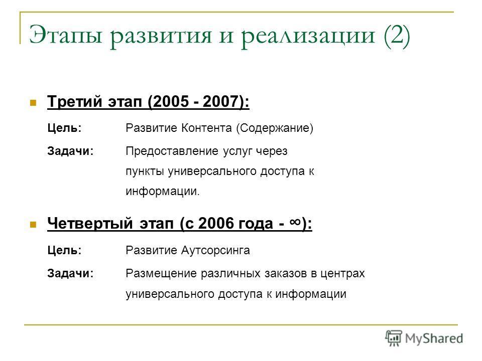 Этапы развития и реализации (2) Третий этап (2005 - 2007): Цель:Развитие Контента (Содержание) Задачи:Предоставление услуг через пункты универсального доступа к информации. Четвертый этап (с 2006 года - ): Цель:Развитие Аутсорсинга Задачи:Размещение