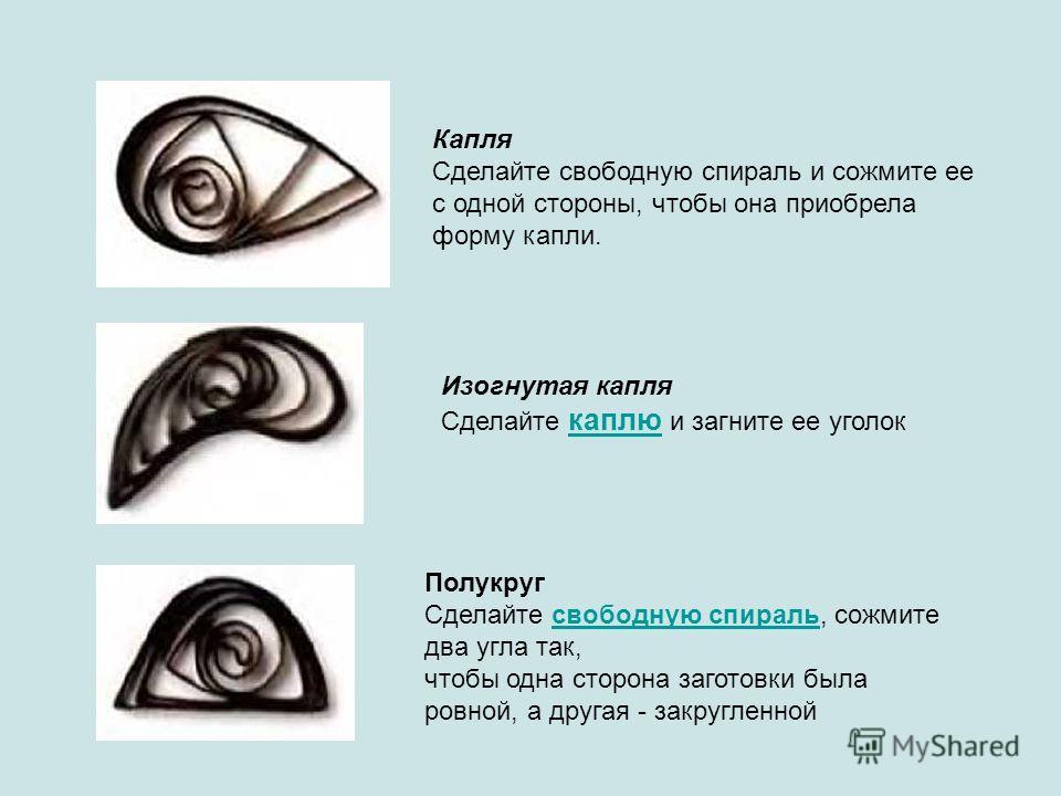 Капля Сделайте свободную спираль и сожмите ее с одной стороны, чтобы она приобрела форму капли. Изогнутая капля Сделайте каплю и загните ее уголок каплю Полукруг Сделайте свободную спираль, сожмите два угла так,свободную спираль чтобы одна сторона за
