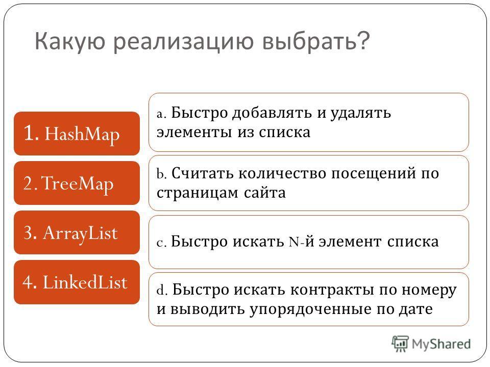 Какую реализацию выбрать ? 1. HashMap2. TreeMap3. ArrayList4. LinkedList a. Быстро добавлять и удалять элементы из списка b. Считать количество посещений по страницам сайта c. Быстро искать N- й элемент списка d. Быстро искать контракты по номеру и в