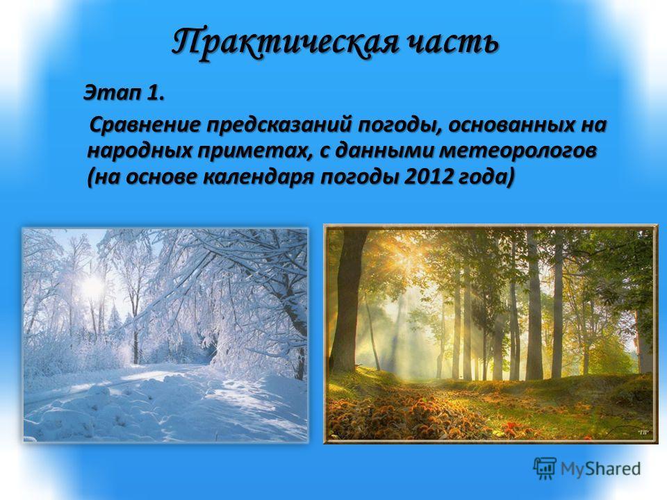 Практическая часть Этап 1. Этап 1. Сравнение предсказаний погоды, основанных на народных приметах, с данными метеорологов (на основе календаря погоды 2012 года) Сравнение предсказаний погоды, основанных на народных приметах, с данными метеорологов (н