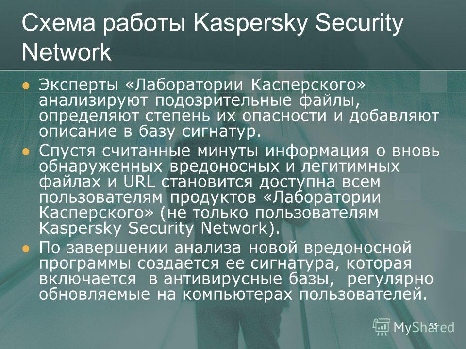 Схема работы Kaspersky Security Network Эксперты «Лаборатории Касперского» анализируют подозрительные файлы, определяют степень их опасности и добавляют описание в базу сигнатур. Спустя считанные минуты информация о вновь обнаруженных вредоносных и л