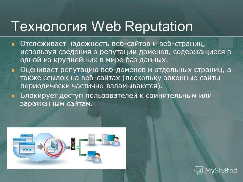 Технология Web Reputation 68 Отслеживает надежность веб-сайтов и веб-страниц, используя сведения о репутации доменов, содержащиеся в одной из крупнейших в мире баз данных. Оценивает репутацию веб-доменов и отдельных страниц, а также ссылок на веб-сай