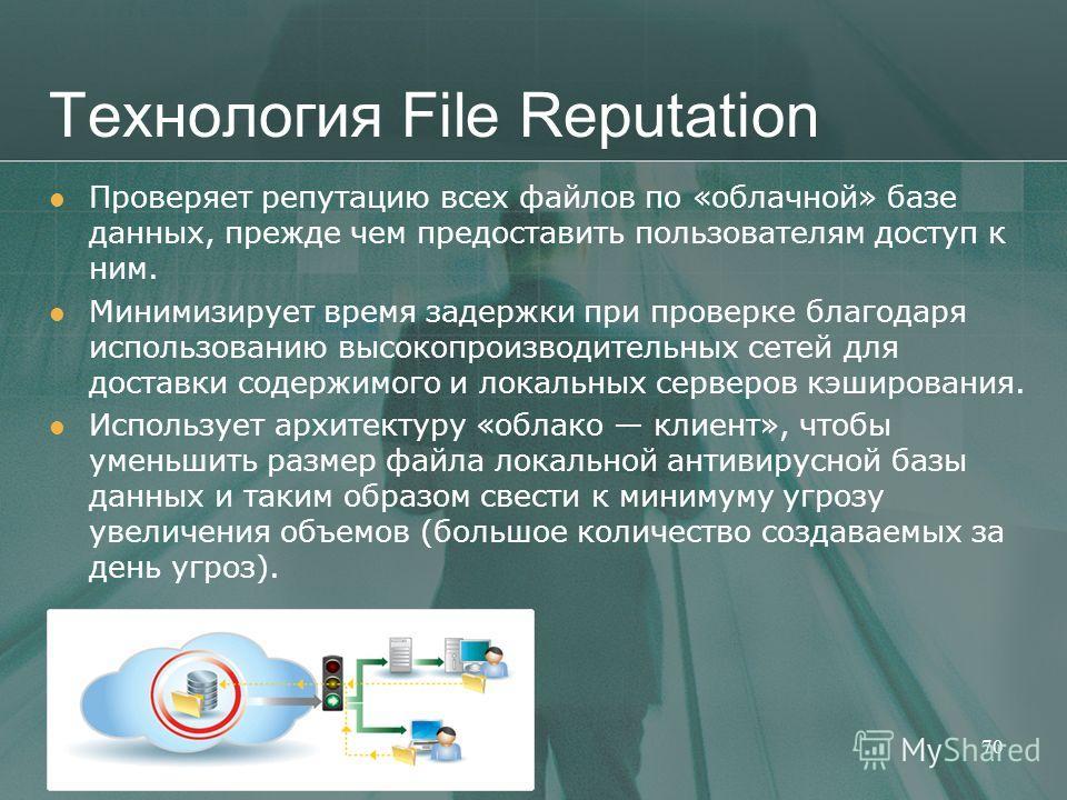 Технология File Reputation Проверяет репутацию всех файлов по «облачной» базе данных, прежде чем предоставить пользователям доступ к ним. Минимизирует время задержки при проверке благодаря использованию высокопроизводительных сетей для доставки содер