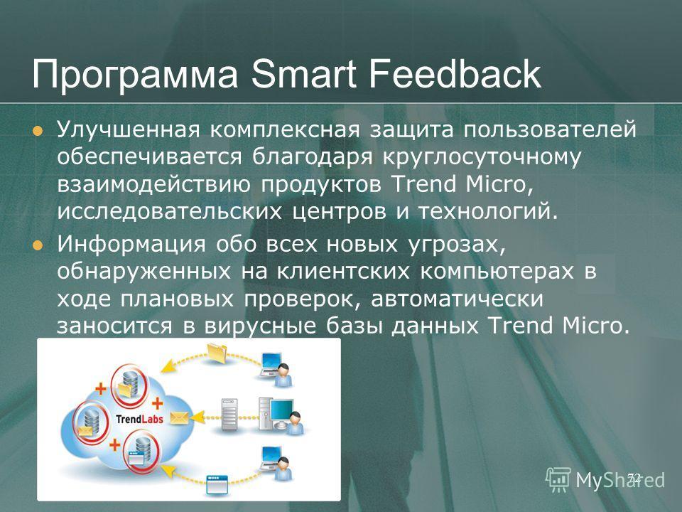 Программа Smart Feedback Улучшенная комплексная защита пользователей обеспечивается благодаря круглосуточному взаимодействию продуктов Trend Micro, исследовательских центров и технологий. Информация обо всех новых угрозах, обнаруженных на клиентских