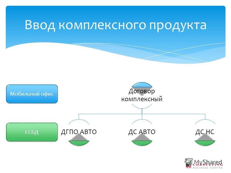 Договор комплексный ДГПО АВТОДС АВТОДС НС Ввод комплексного продукта Мобильный офис ЕСБД
