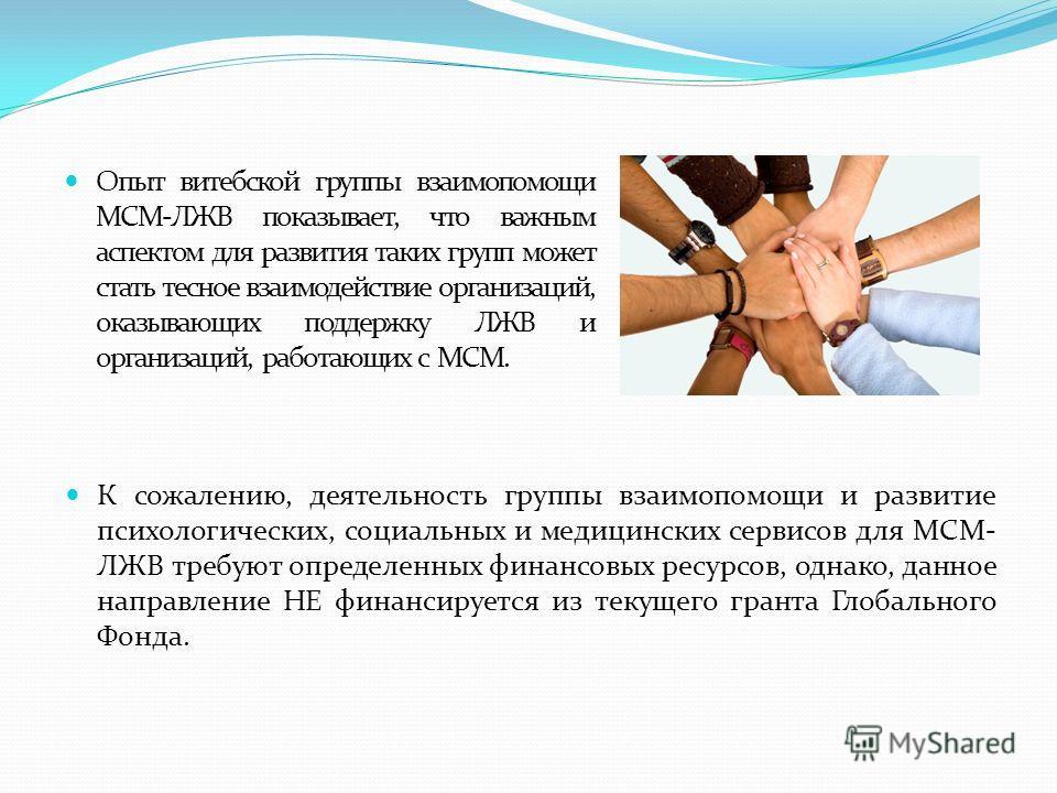 Опыт витебской группы взаимопомощи МСМ-ЛЖВ показывает, что важным аспектом для развития таких групп может стать тесное взаимодействие организаций, оказывающих поддержку ЛЖВ и организаций, работающих с МСМ. К сожалению, деятельность группы взаимопомощ