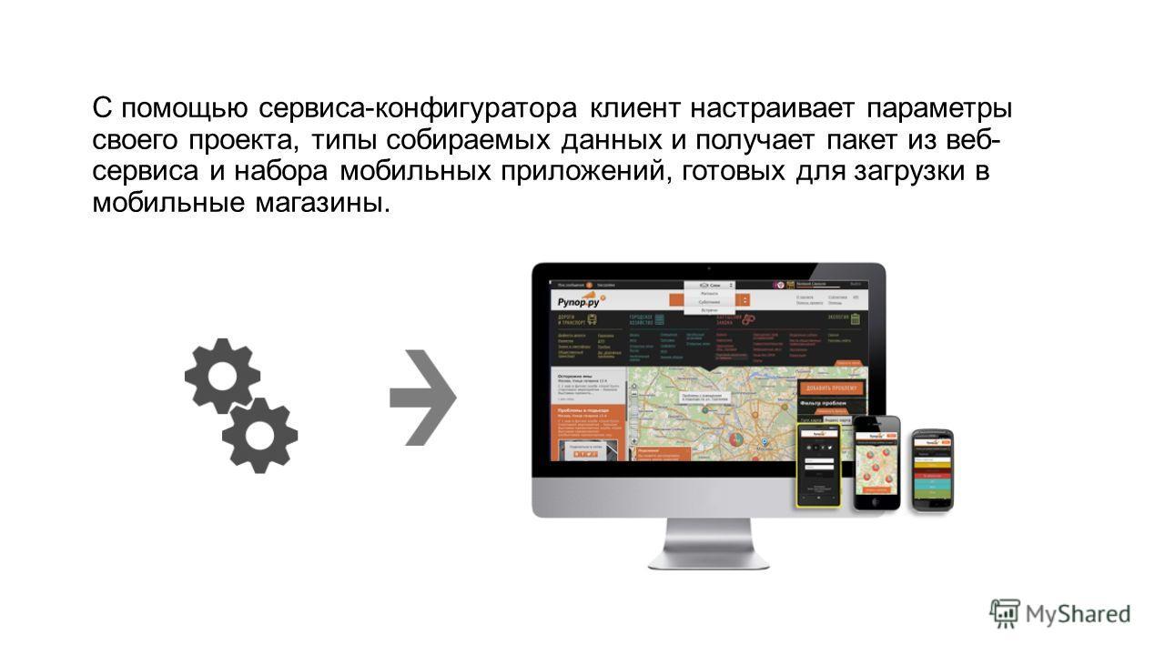 С помощью сервиса-конфигуратора клиент настраивает параметры своего проекта, типы собираемых данных и получает пакет из веб- сервиса и набора мобильных приложений, готовых для загрузки в мобильные магазины.