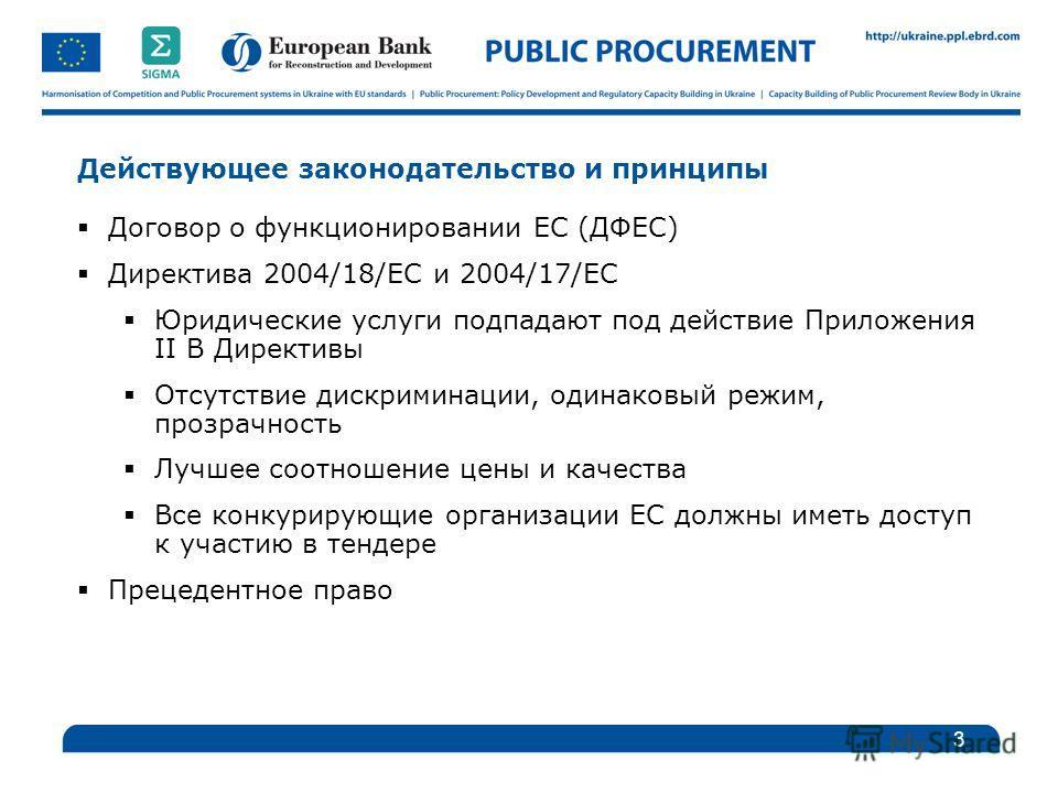 Действующее законодательство и принципы Договор о функционировании ЕС (ДФЕС) Директива 2004/18/EC и 2004/17/EC Юридические услуги подпадают под действие Приложения II B Директивы Отсутствие дискриминации, одинаковый режим, прозрачность Лучшее соотнош