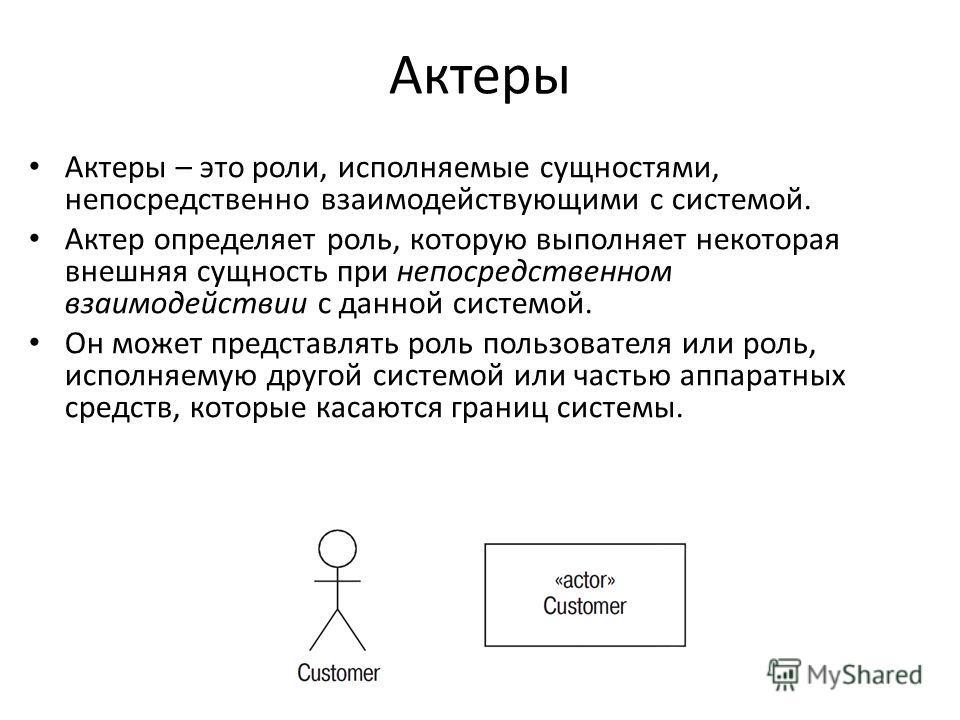 Актеры Актеры – это роли, исполняемые сущностями, непосредственно взаимодействующими с системой. Актер определяет роль, которую выполняет некоторая внешняя сущность при непосредственном взаимодействии с данной системой. Он может представлять роль пол