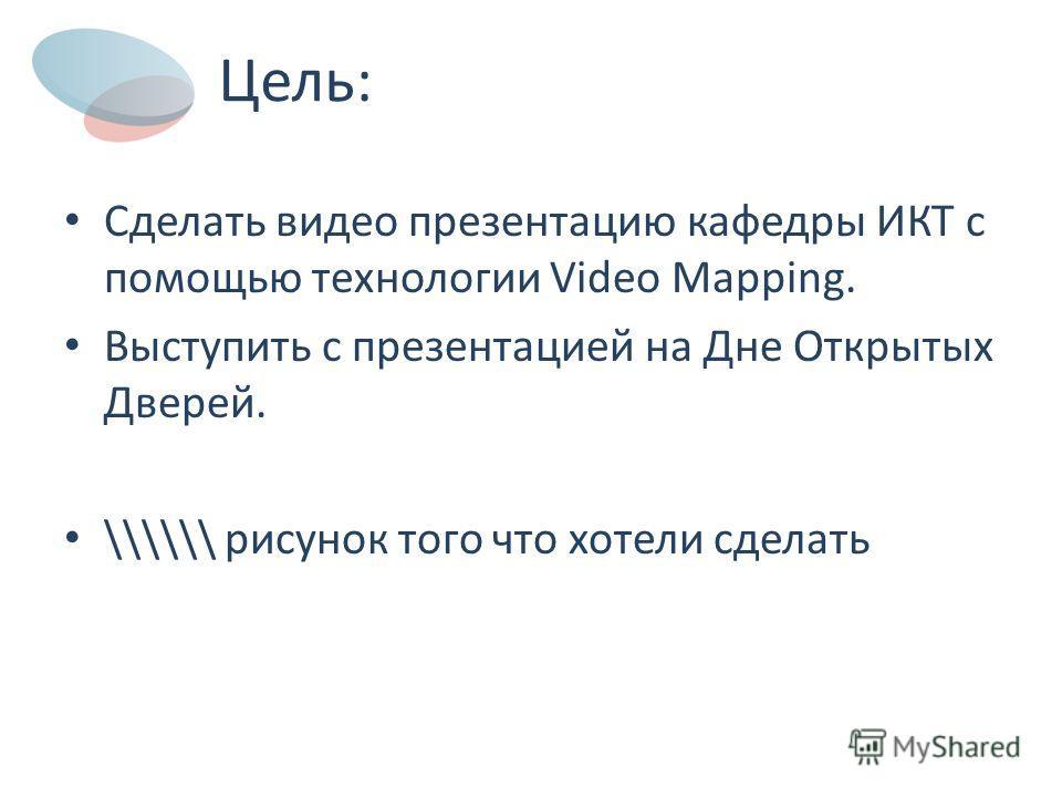 Цель: Сделать видео презентацию кафедры ИКТ с помощью технологии Video Mapping. Выступить с презентацией на Дне Открытых Дверей. \\\\\\ рисунок того что хотели сделать