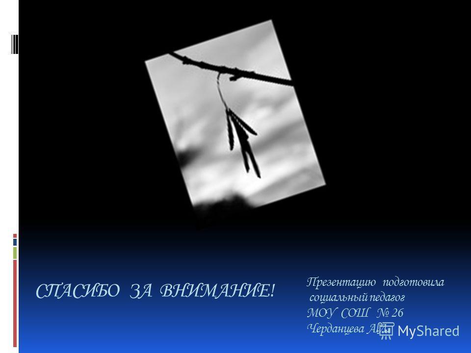 Презентацию подготовила социальный педагог МОУ СОШ 26 Черданцева А.Л. СПАСИБО ЗА ВНИМАНИЕ!