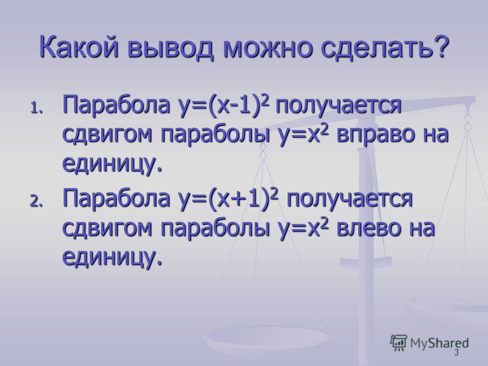 3 Какой вывод можно сделать? 1. Парабола y=(x-1) 2 получается сдвигом параболы y=x 2 вправо на единицу. 2. Парабола y=(x+1) 2 получается сдвигом параболы y=x 2 влево на единицу.