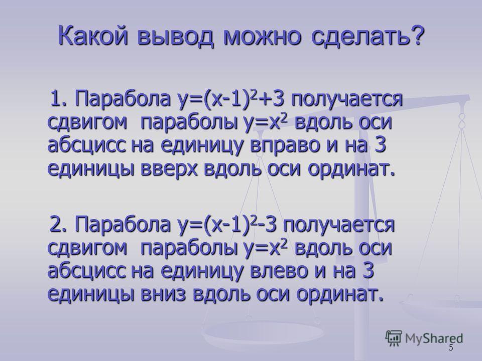 5 Какой вывод можно сделать? 1. Парабола y=(x-1) 2 +3 получается сдвигом параболы y=x 2 вдоль оси абсцисс на единицу вправо и на 3 единицы вверх вдоль оси ординат. 1. Парабола y=(x-1) 2 +3 получается сдвигом параболы y=x 2 вдоль оси абсцисс на единиц