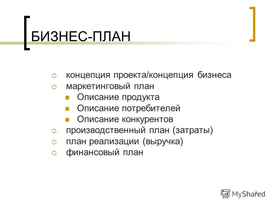 6 БИЗНЕС-ПЛАН концепция проекта/концепция бизнеса маркетинговый план Описание продукта Описание потребителей Описание конкурентов производственный план (затраты) план реализации (выручка) финансовый план