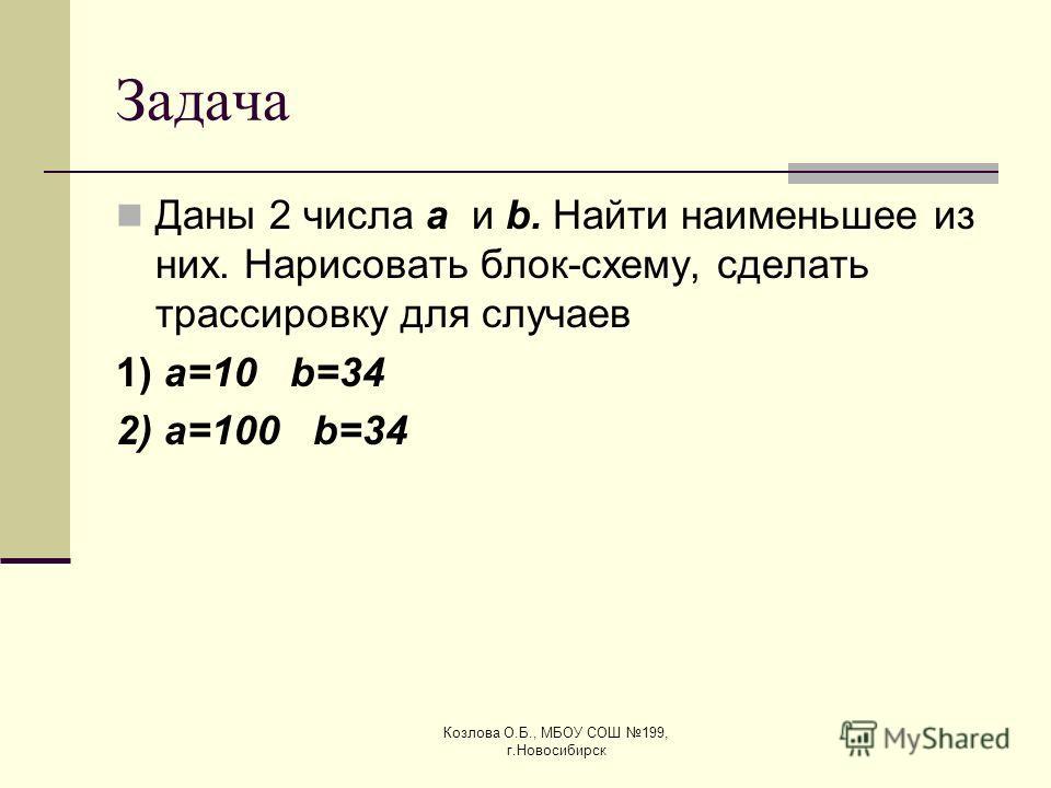 Козлова О.Б., МБОУ СОШ 199, г.Новосибирск Задача Даны 2 числа a и b. Найти наименьшее из них. Нарисовать блок-схему, сделать трассировку для случаев 1) a=10 b=34 2) a=100 b=34
