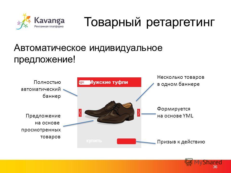 Товарный ретаргетинг Автоматическое индивидуальное предложение! 36 logo Мужские туфли купить Предложение на основе просмотренных товаров Несколько товаров в одном баннере Полностью автоматический баннер Формируется на основе YML Призыв к действию
