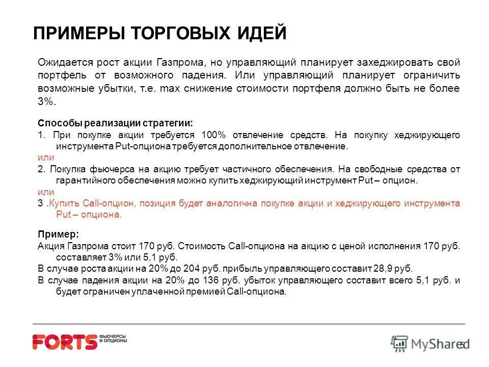 ПРИМЕРЫ ТОРГОВЫХ ИДЕЙ Ожидается рост акции Газпрома, но управляющий планирует захеджировать свой портфель от возможного падения. Или управляющий планирует ограничить возможные убытки, т.е. max снижение стоимости портфеля должно быть не более 3%. Спос