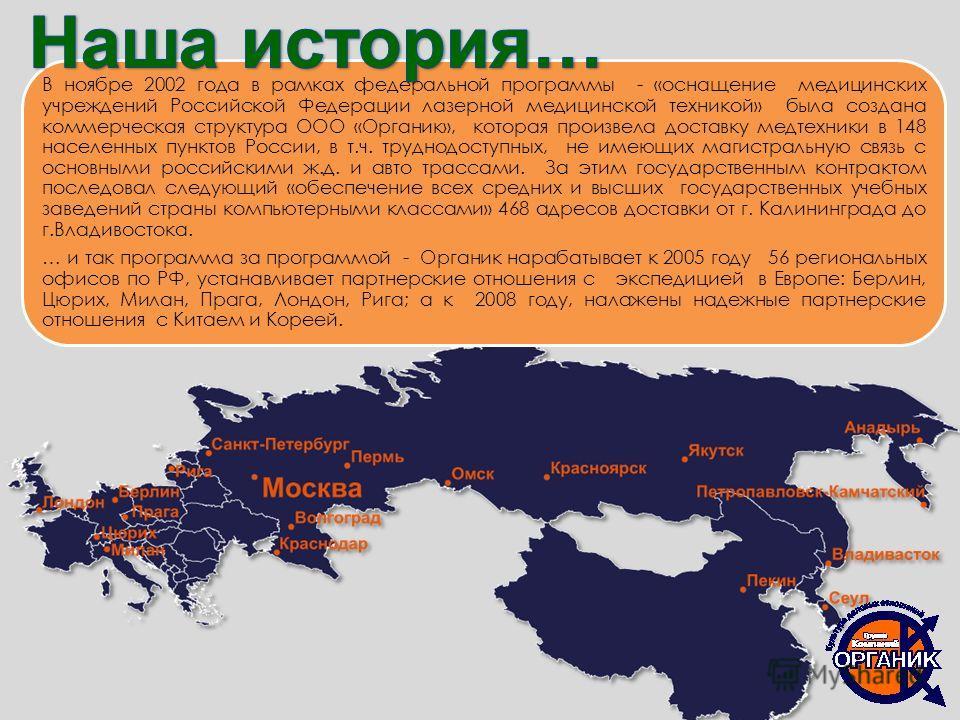 В ноябре 2002 года в рамках федеральной программы - «оснащение медицинских учреждений Российской Федерации лазерной медицинской техникой» была создана коммерческая структура ООО «Органик», которая произвела доставку медтехники в 148 населенных пункто
