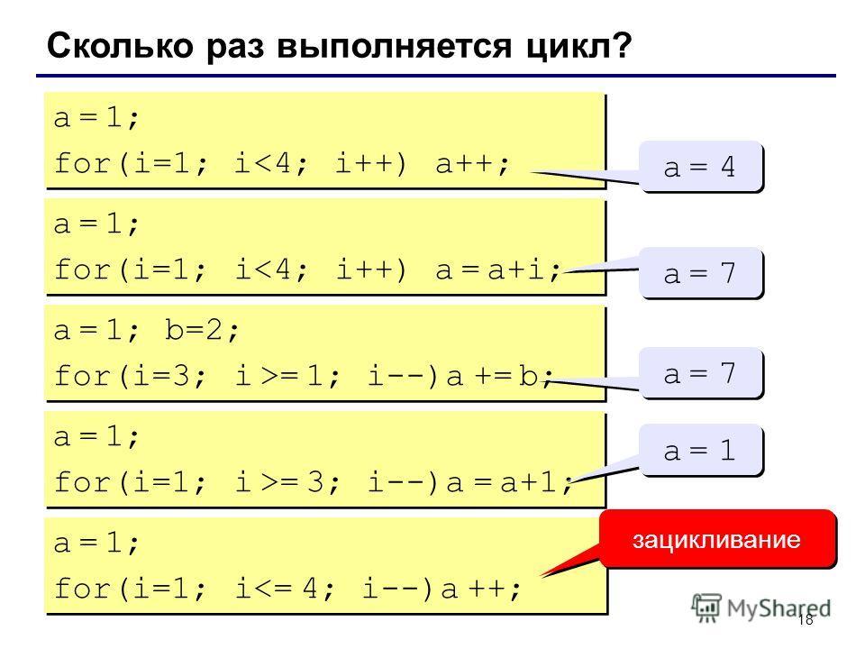 18 Сколько раз выполняется цикл? a = 1; for(i=1; i= 1; i--)a += b; a = 7a = 7 a = 7a = 7 a = 1; for(i=1; i >= 3; i--)a = a+1; a = 1; for(i=1; i >= 3; i--)a = a+1; a = 1a = 1 a = 1a = 1 a = 1; for(i=1; i