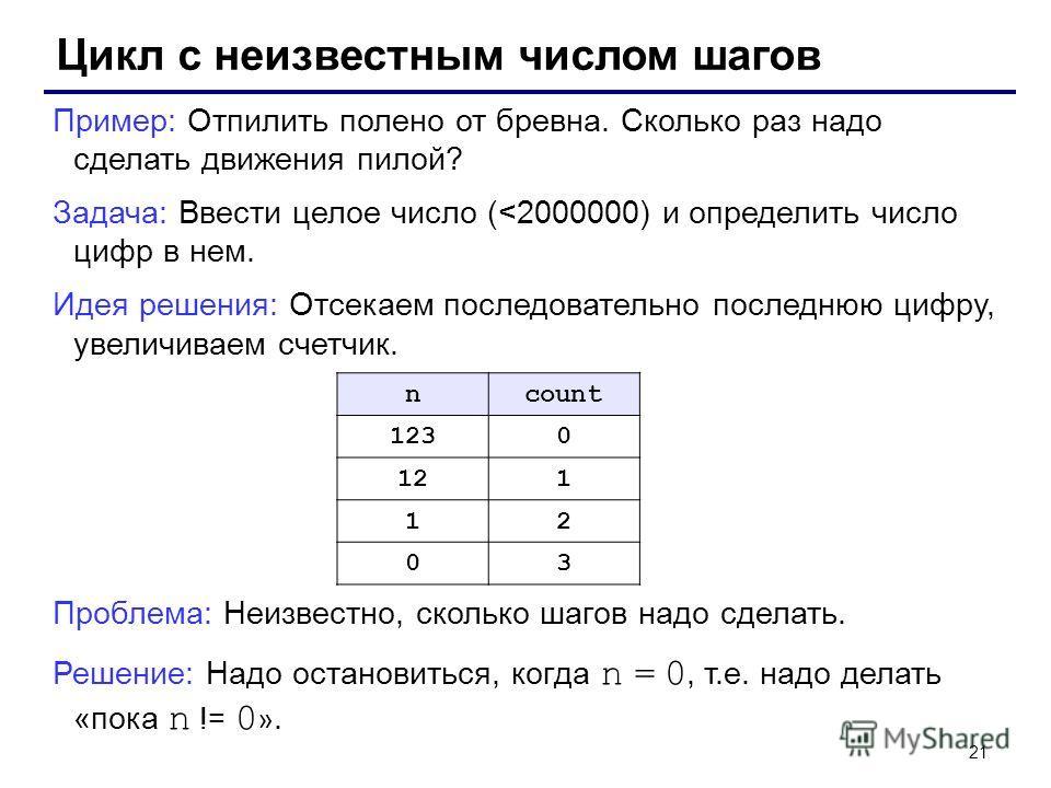 21 Цикл с неизвестным числом шагов Пример: Отпилить полено от бревна. Сколько раз надо сделать движения пилой? Задача: Ввести целое число (