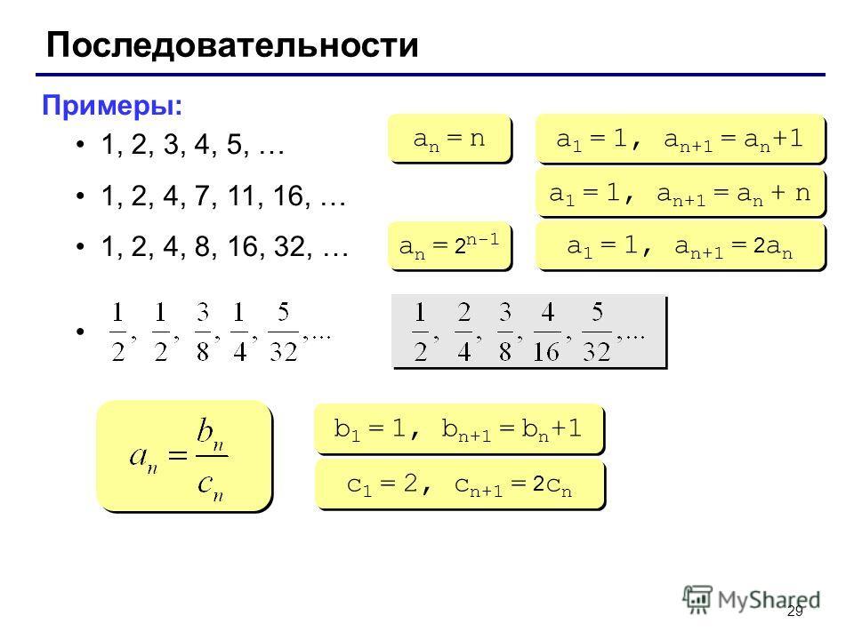 29 Последовательности Примеры: 1, 2, 3, 4, 5, … 1, 2, 4, 7, 11, 16, … 1, 2, 4, 8, 16, 32, … an = nan = n an = nan = n a 1 = 1, a n+1 = a n +1 a 1 = 1, a n+1 = a n + n a n = 2 n-1 a 1 = 1, a n+1 = 2 a n b 1 = 1, b n+1 = b n +1 c 1 = 2, c n+1 = 2 c n