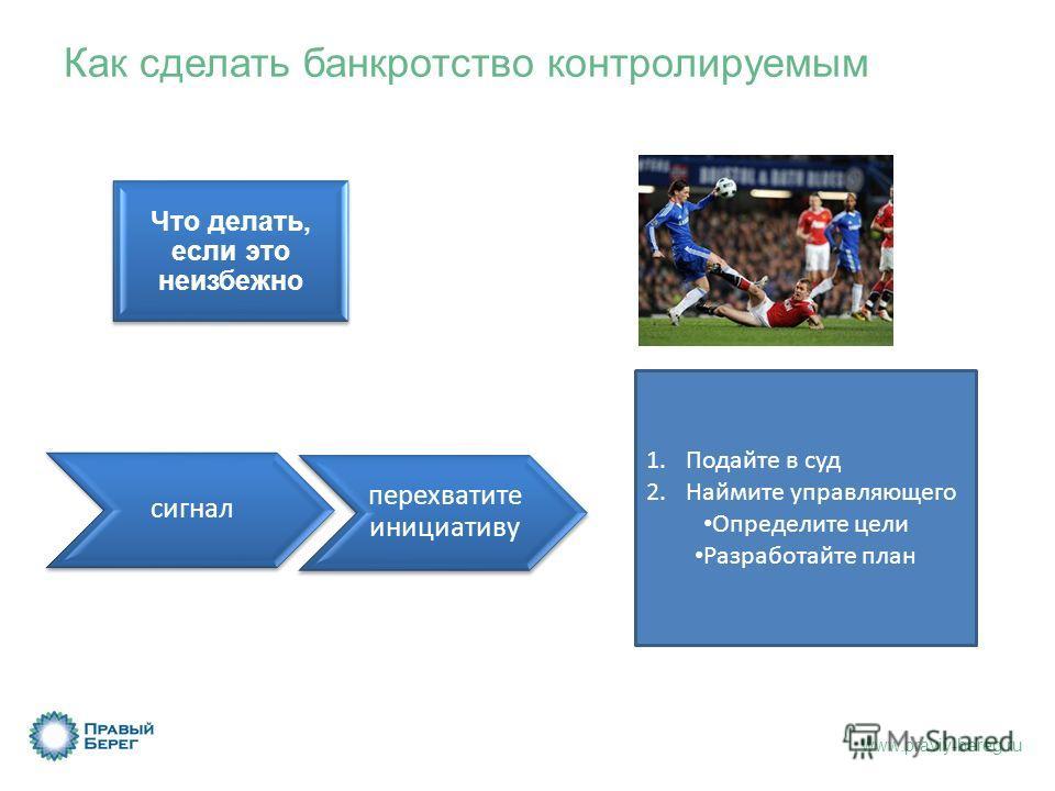 www.praviy-bereg.ru сигнал перехватите инициативу 1.Подайте в суд 2.Наймите управляющего Определите цели Разработайте план Как сделать банкротство контролируемым Что делать, если это неизбежно