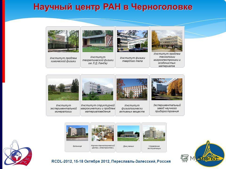 RCDL-2012, 15-18 Октября 2012, Переславль-Залесский, Россия Научный центр РАН в Черноголовке