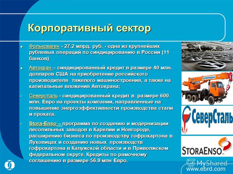 Корпоративный сектор Фольксваген - 27.2 млрд. руб. - одна из крупнейших рублевых операций по синдицированию в России (11 банков) Фольксваген - 27.2 млрд. руб. - одна из крупнейших рублевых операций по синдицированию в России (11 банков) Автокран – си