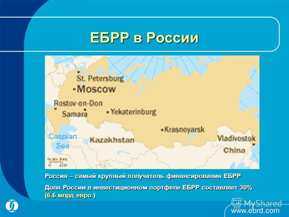 ЕБРР в России Россия – самый крупный получатель финансирования ЕБРР Доля России в инвестиционном портфеле ЕБРР составляет 30% (6.6 млрд евро )
