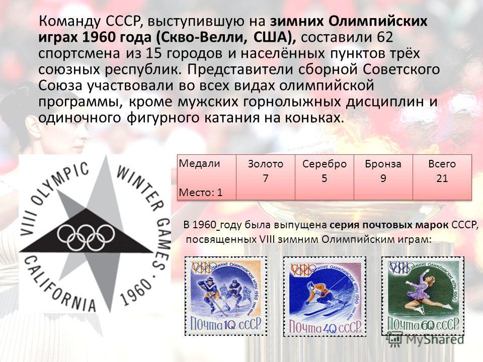 Команду СССР, выступившую на зимних Олимпийских играх 1960 года (Скво-Велли, США), составили 62 спортсмена из 15 городов и населённых пунктов трёх союзных республик. Представители сборной Советского Союза участвовали во всех видах олимпийской програм