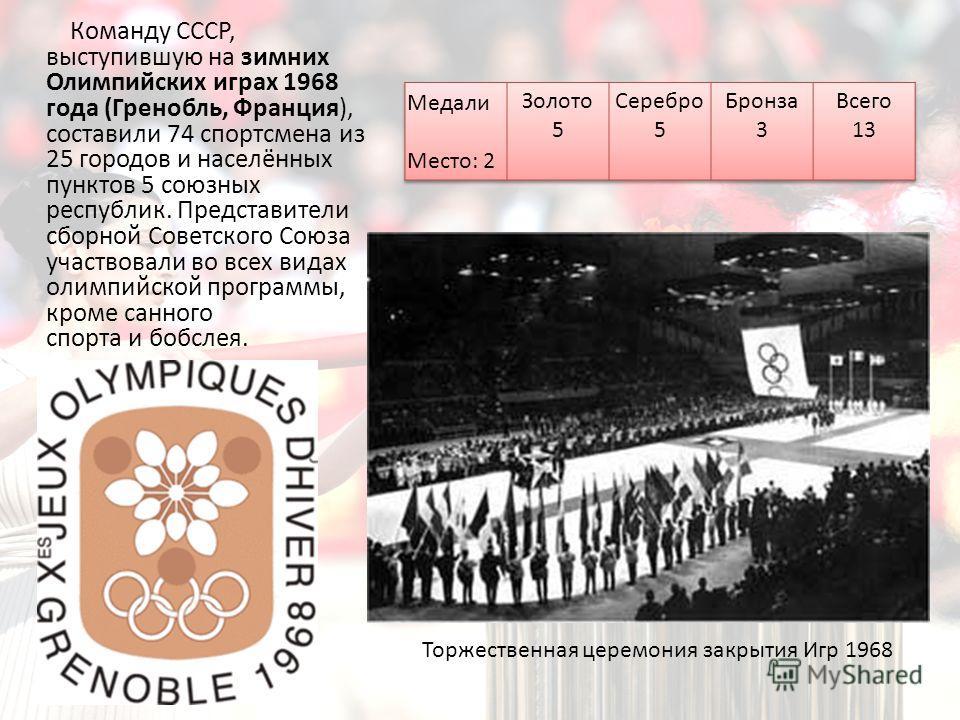 Команду СССР, выступившую на зимних Олимпийских играх 1968 года (Гренобль, Франция), составили 74 спортсмена из 25 городов и населённых пунктов 5 союзных республик. Представители сборной Советского Союза участвовали во всех видах олимпийской программ