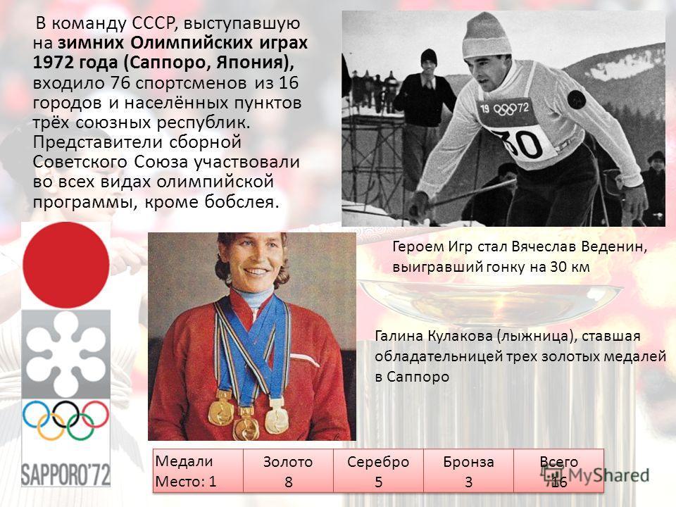 В команду СССР, выступавшую на зимних Олимпийских играх 1972 года (Саппоро, Япония), входило 76 спортсменов из 16 городов и населённых пунктов трёх союзных республик. Представители сборной Советского Союза участвовали во всех видах олимпийской програ