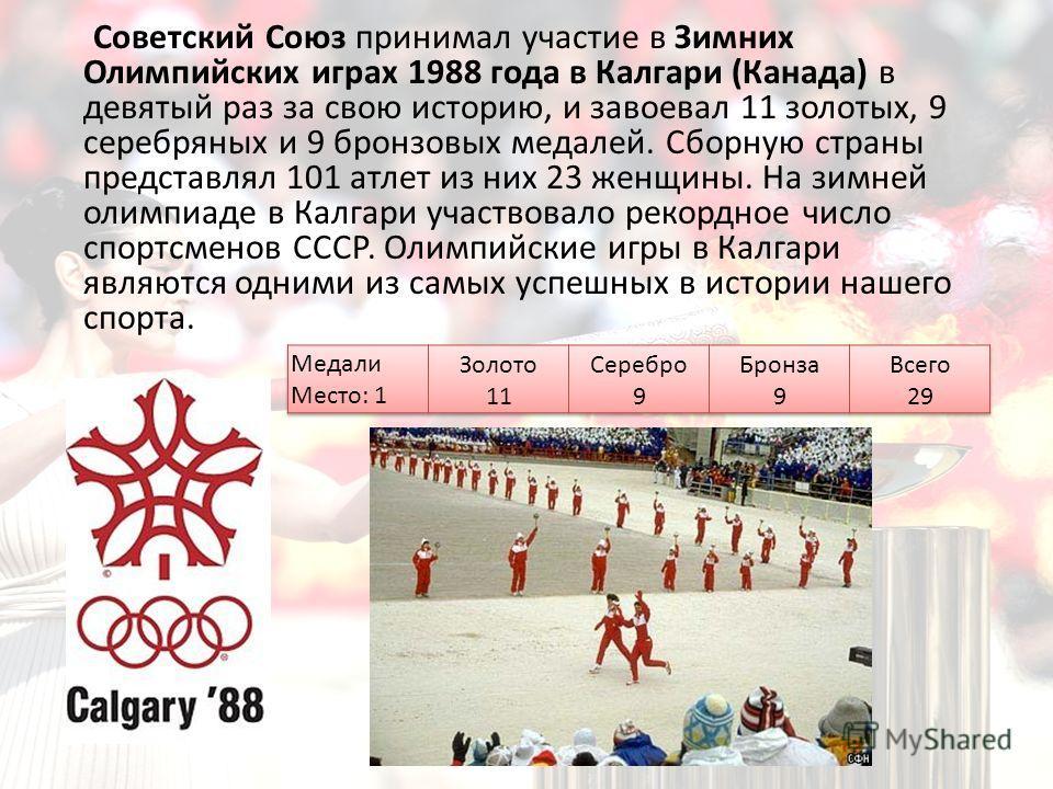 Советский Союз принимал участие в Зимних Олимпийских играх 1988 года в Калгари (Канада) в девятый раз за свою историю, и завоевал 11 золотых, 9 серебряных и 9 бронзовых медалей. Сборную страны представлял 101 атлет из них 23 женщины. На зимней олимпи