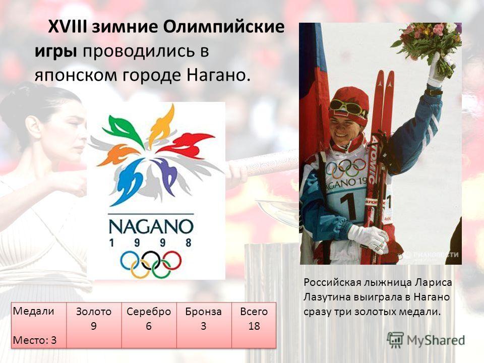 XVIII зимние Олимпийские игры проводились в японском городе Нагано. Российская лыжница Лариса Лазутина выиграла в Нагано сразу три золотых медали.