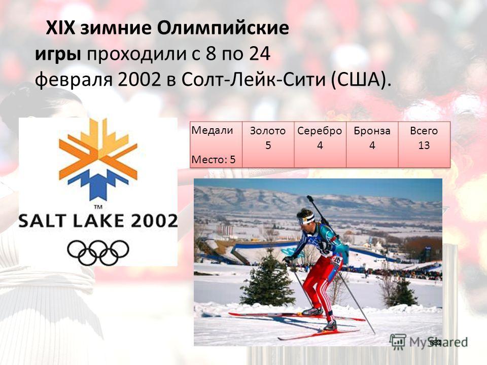 XIX зимние Олимпийские игры проходили с 8 по 24 февраля 2002 в Солт-Лейк-Сити (США).